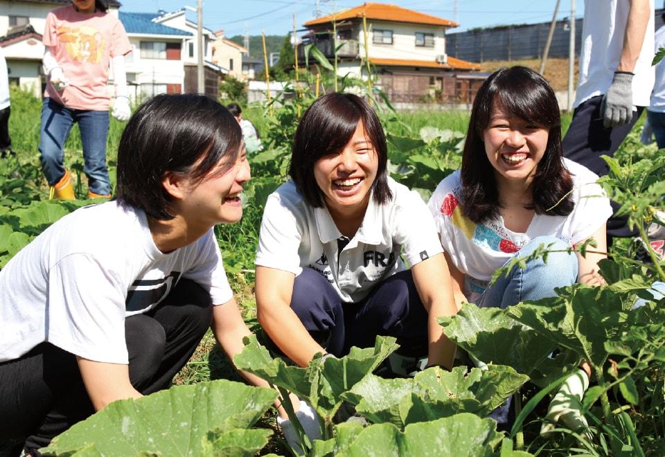 写真:自然体験活動で畑にしゃがんでいる3人の女子学生