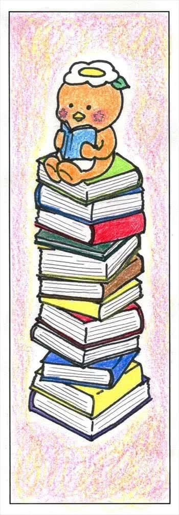 写真:「積み重なった本の上に乗るミマッパちゃん」のしおり