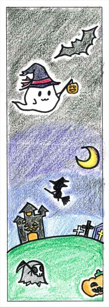 写真:魔女やおばけをあしらったハロウィン仕様のしおり
